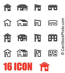 Vector Grey House Icon set