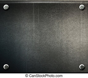 Vector grunge placa de metal con tornillos