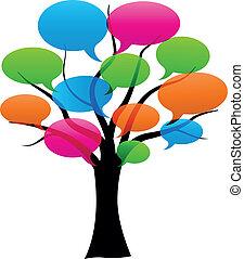 Vector habla burbujas en el árbol