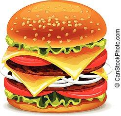 vector, hamburguesa, ilustración