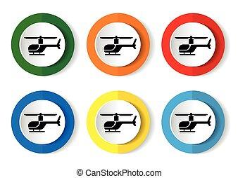 vector, helicóptero, button., icono, internet, redondo