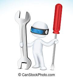 vector, herramientas, hombre, 3d