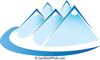 vector, hielo, logotipo, montañas azules