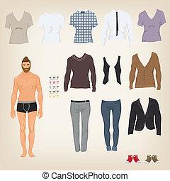 Vector hipster vestido con una variedad de ropa de hipster