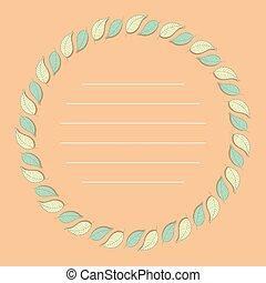 vector, hojas, frame., natural, color, lineal, plantilla