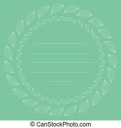 vector, hojas, frame., natural, lineal, plantilla, contorno