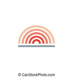 vector, horizonte, simple, sol, gradiente, logotipo