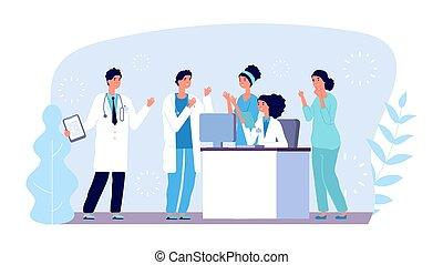 vector, hospital, reunión, concept., equipo, consulta, diagnósticos, characters., médico, doctors