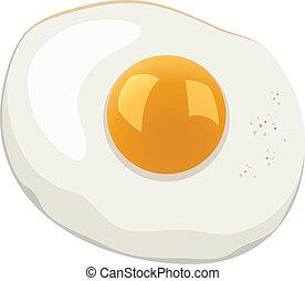 vector, huevo, frito