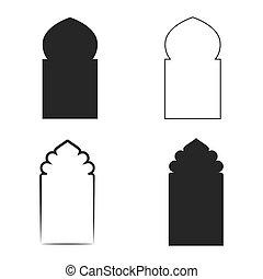 vector, icono, conjunto, ventana, islámico