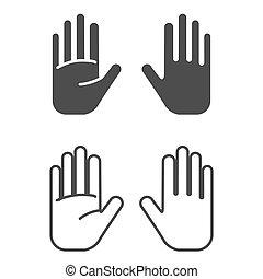 vector, icono, mano, fondo., ilustración, blanco