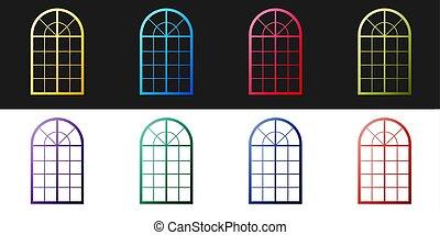 vector, icono, negro, aislado, arqueado, conjunto, fondo., blanco, ventana