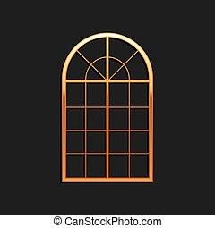 vector, icono, negro, aislado, sombra, style., arqueado, fondo., oro, largo, ventana