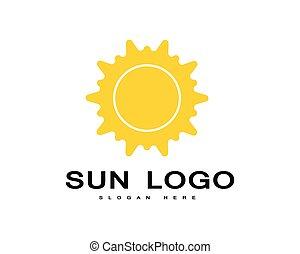Vector icono sol logo sobre horizonte