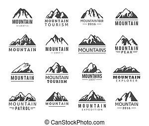 vector, iconos, conjunto, montaña