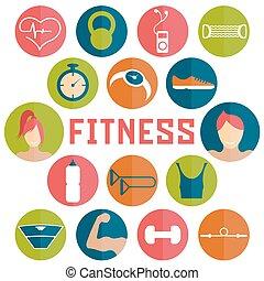 Vector iconos planos de diseño de elementos de fitness