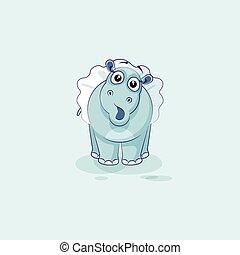 Vector Illustración Emoji personaje de dibujos animados bailarina Hippopotamus sorprendido con grandes ojos