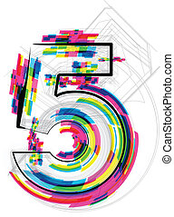 vector, illustration., número, ilustración, 5., fuente