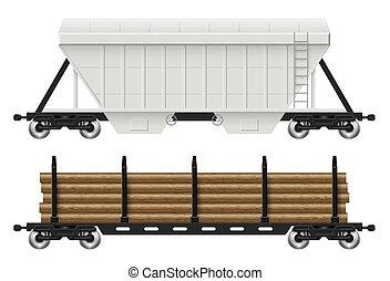 vector, ilustración, automóviles del ferrocarril, tolva, registro