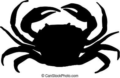 vector, ilustración, cangrejo, silueta