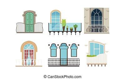 vector, ilustración, diseño de edificio, balcones, casa, fachada, conjunto, moderno, windows, exterior, estilos, clásico, diferente