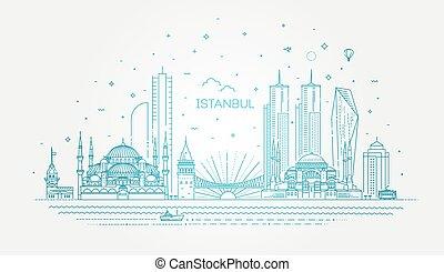vector, ilustración, estambul, skyline.