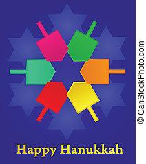 vector, ilustración, hanukkah