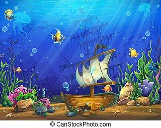 vector, ilustración, hundido, goleta, horizontal, submarino, océano