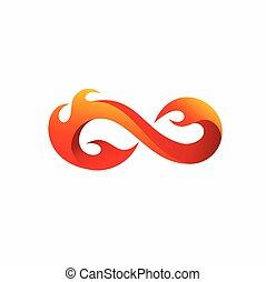 vector, ilustración, logotipo, infinito, fuego, diseño