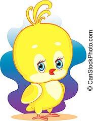 vector, ilustración, ojos, pollo, carácter, amarillo, cabeza grande, azul