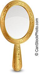 vector, ilustración, oro, espejo