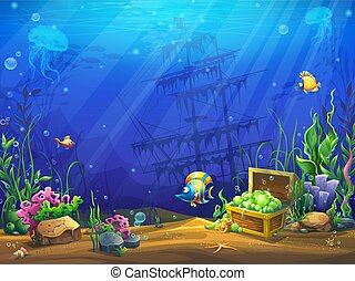 vector, ilustración, submarino, océano