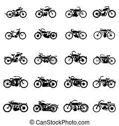vector, ilustraciones, simple, blanco, aislado, viejo, conjunto, estilo, motocicleta, vendimia, plano de fondo