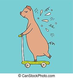 Vector ilustrado a mano de un cerdo montando en scooter. Doodles.