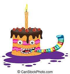 vector, imagen, aislado, caricatura, vela, blanco, tubo, carácter, pastel, fondo.