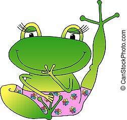 Vector imagen alegre rana verde
