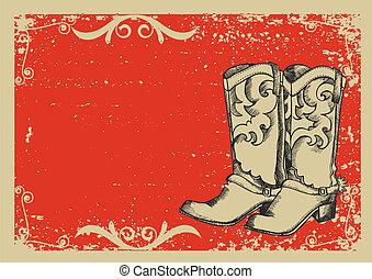 .vector, imagen, botas, plano de fondo, vaquero, grunge, gráfico, texto