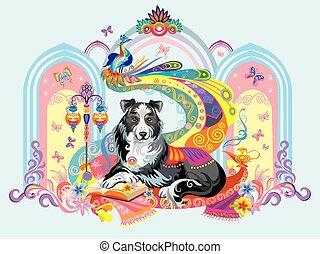 Vector imagen de perro, el símbolo de Año Nuevo 2018