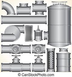 vector, industrial, elementos