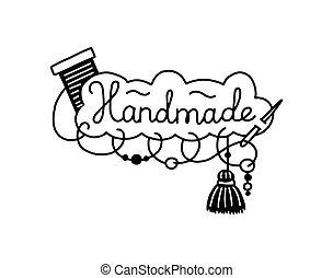 vector, insignia, ilustración, productos, o, costura, bordado, hechaa mano, isolated.