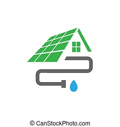 vector, instalación, plantilla, tubo, hogar, logotipo, diseño, casa, techo, canal, exterior
