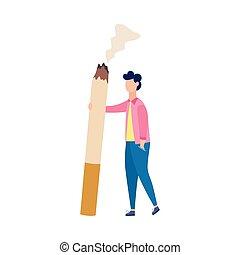 vector, isolated., plano, cigarrillo, ilustración, gigante, hombre, carácter, caricatura
