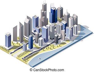 Vector Isometric City en el centro