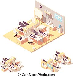Vector Isometric Office con cubículo