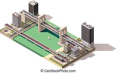 Vector isometrico mapa de la ciudad