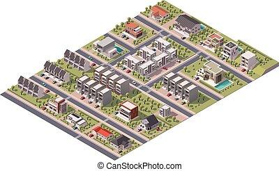 Vector isometrico mapa de los suburbios