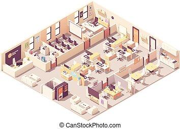 Vector isometrico plan de interior de oficina