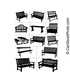 vector, jardín, grande, conjunto, benches.