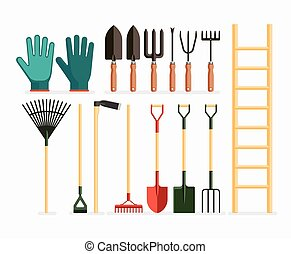 vector, jardinería, design., conjunto, items., plano, ilustración, herramientas, jardín