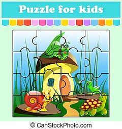 vector, juego, color, hongo, kids., caricatura, preschool., worksheet., house., page., aislado, rompecabezas, adivinanza, illustration., animales, educación, style., actividad